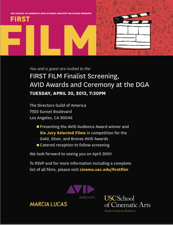 USC Cinematic Arts AVID Awards and Ceremony and Screening