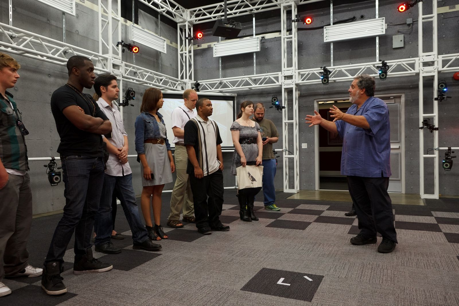 Jon Landau (right) at the Robert Zemeckis Center for Digital Arts' Motion Capture Lab