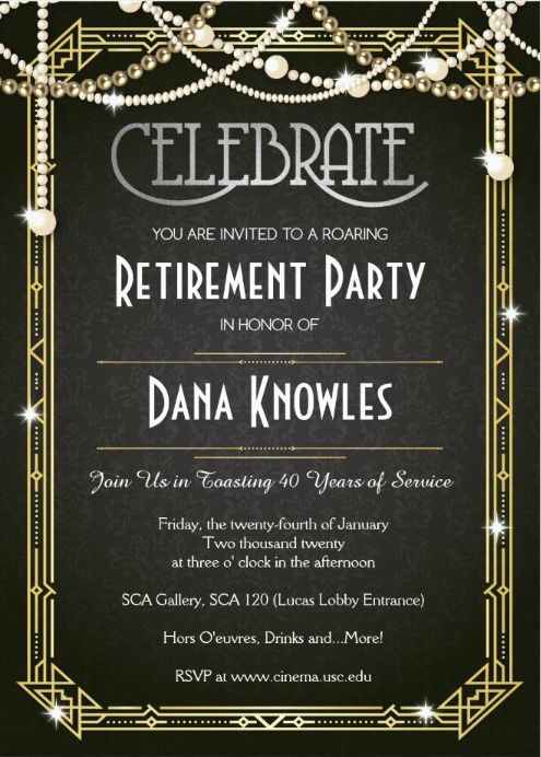 Invitation to Dana Knowles Retirement Party - Click to RSVP
